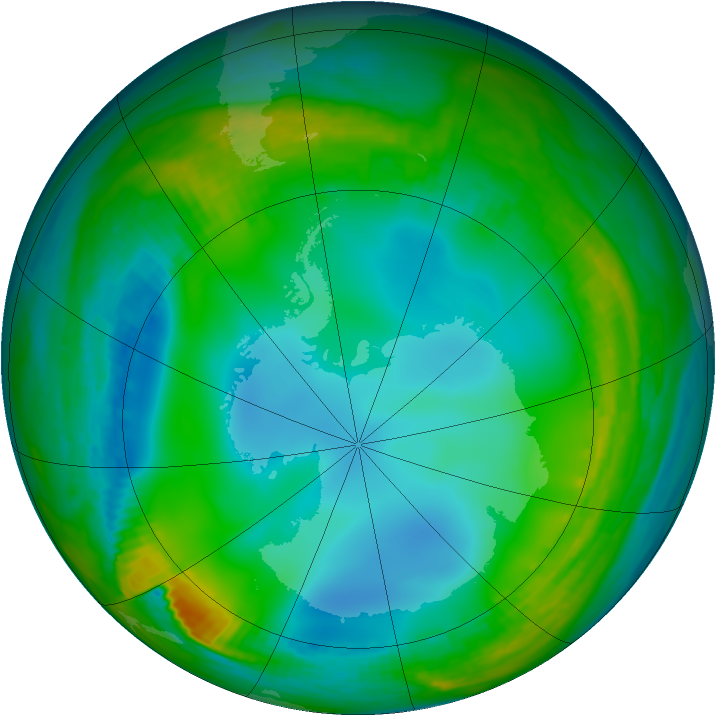 Antarctic ozone map for 17 June 1983